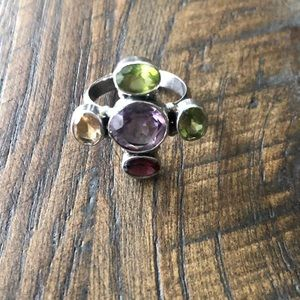 Sterling silver and gemstone ring